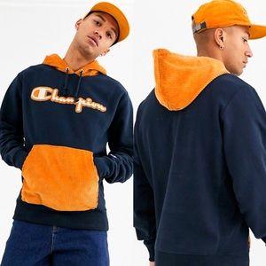 Champion Reverse Weave Corduroy Blue Orange Hoodie